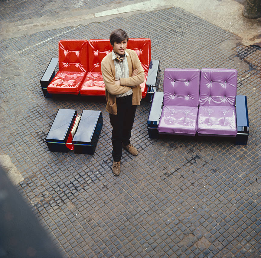 image showing Peter Banks pictured with his first ranve of furniture for Banks Heeley Plastics