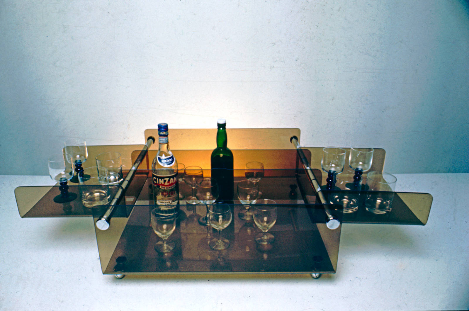 image showing Drinks trolley constructed in acrylic and chrome - various colour and metalwork options are available